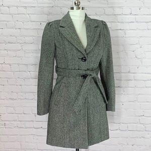 GUESS Gray Wool Blend Belted Fitted Trench Coat  S